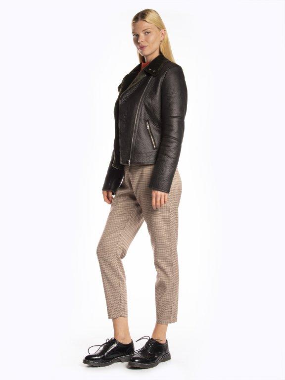 Pile lined faux leather biker jacket