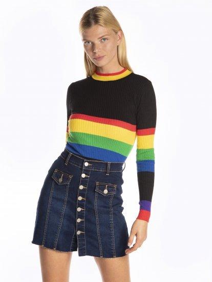 Žebrovaný proužkovaný svetr
