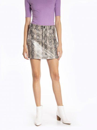 Mini sukňa s haďou potlačou
