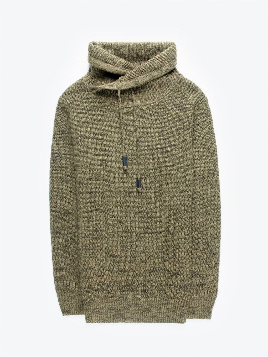 High neck marled pullover