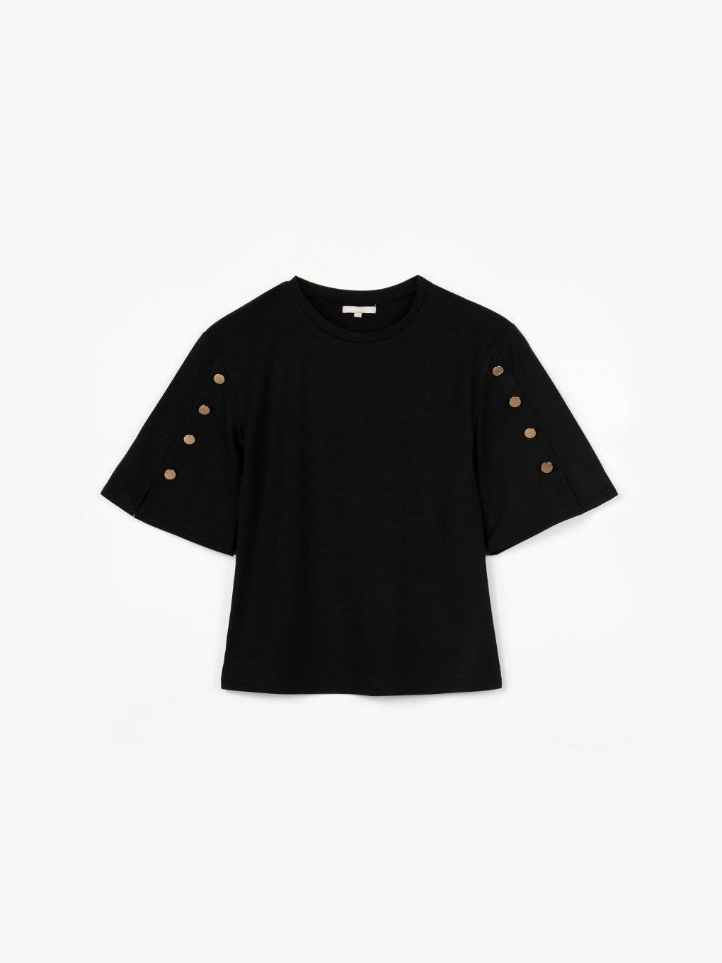 T-shirt with embellished sleeves