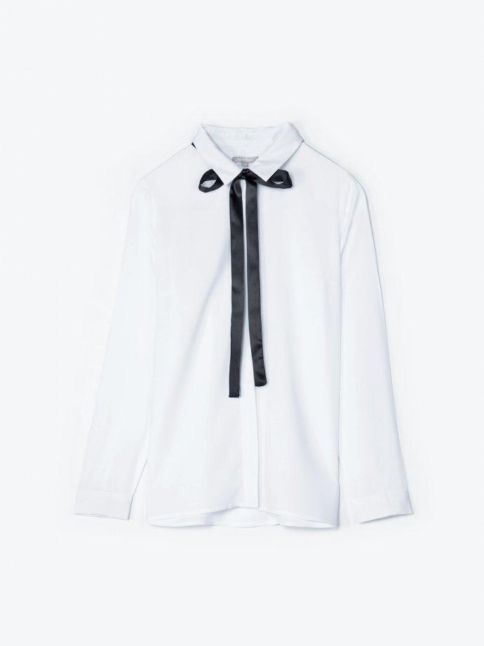 Bow detail viscose blouse