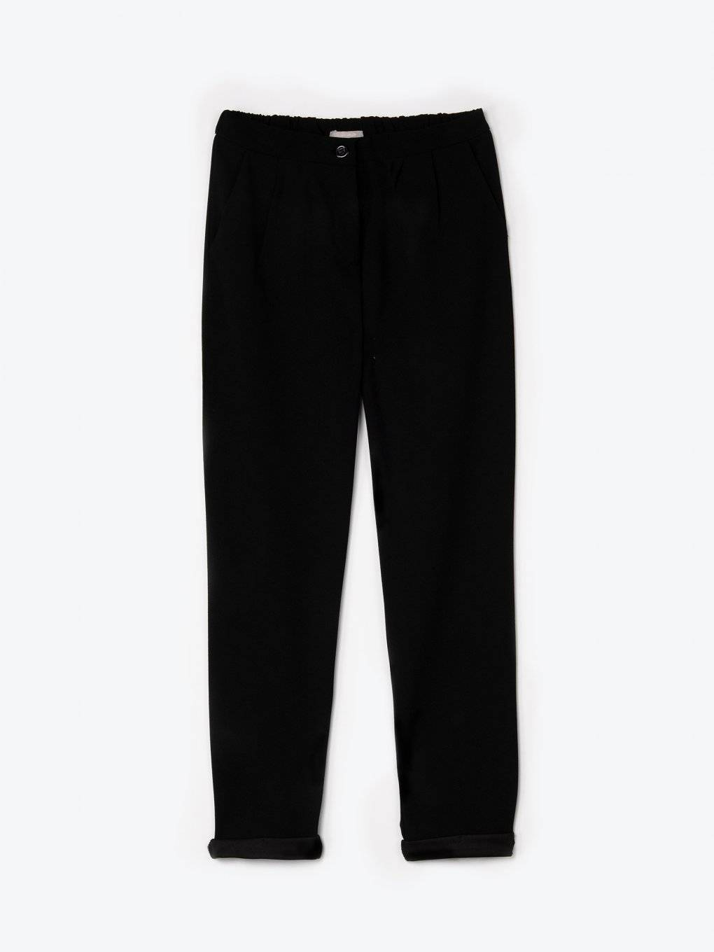 Tapered elastic trousers
