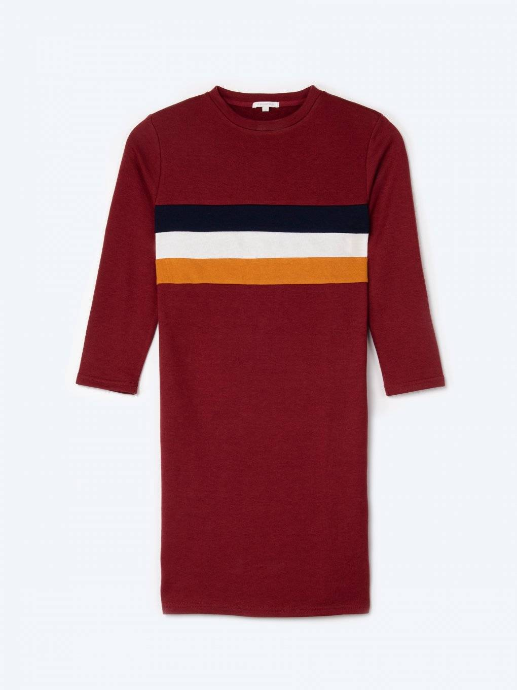 Sweatshirt dress with stripes