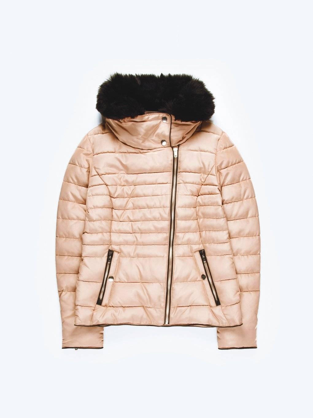 Quilted padded jacket with faux fur collar