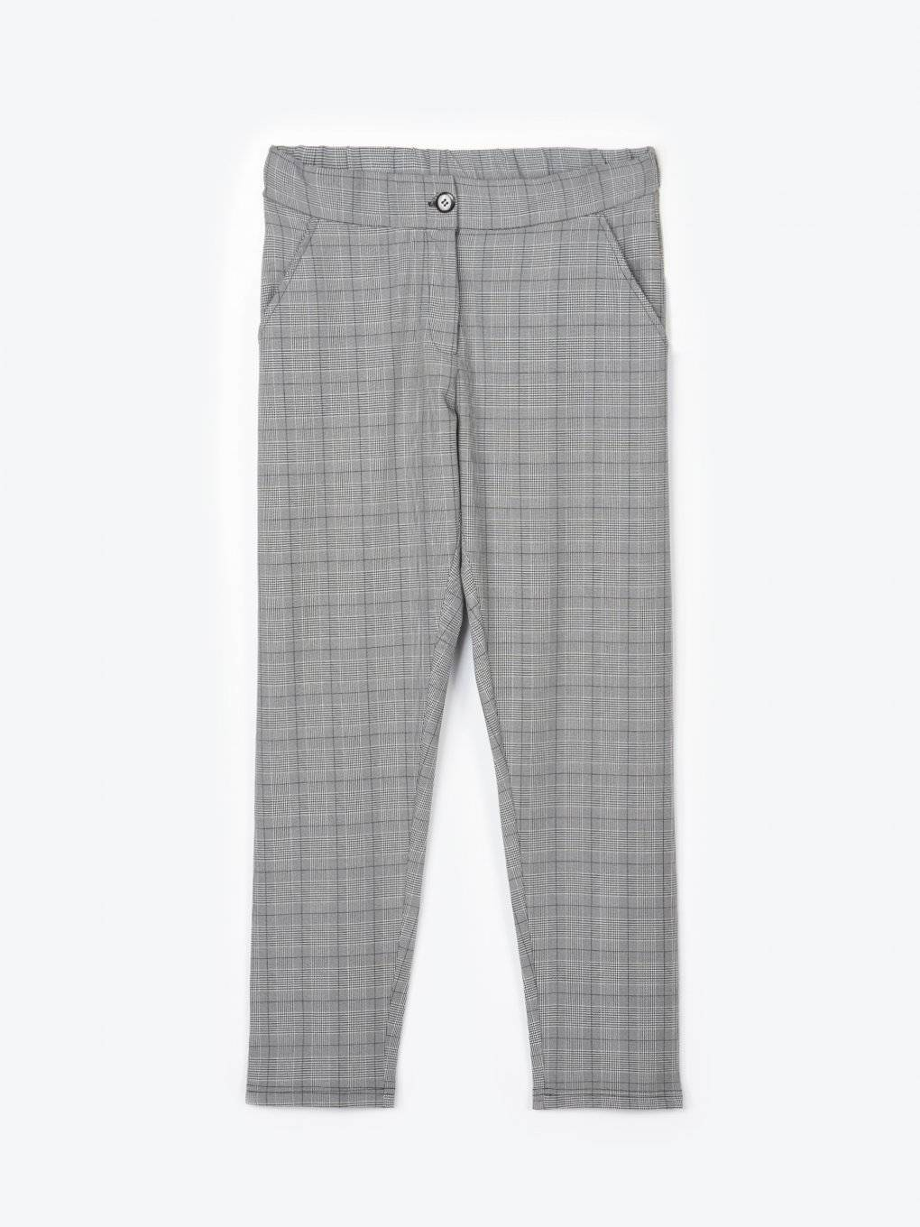 Plaid straight fit stretchy trousers