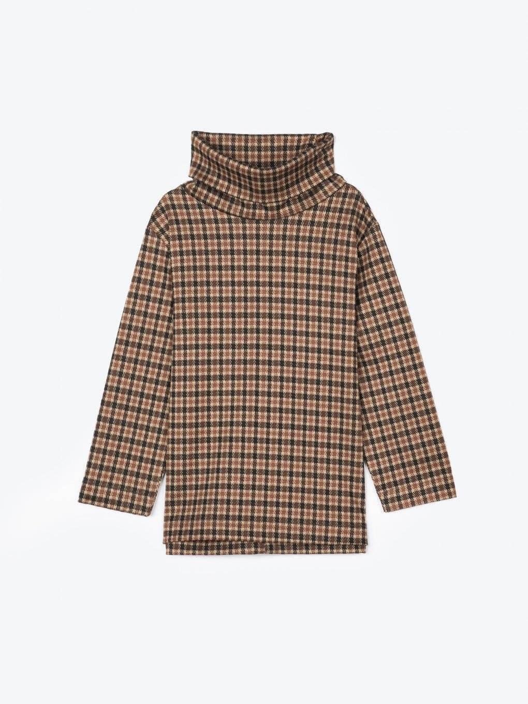 Jacquard roll neck 3/4 sleeve t-shirt