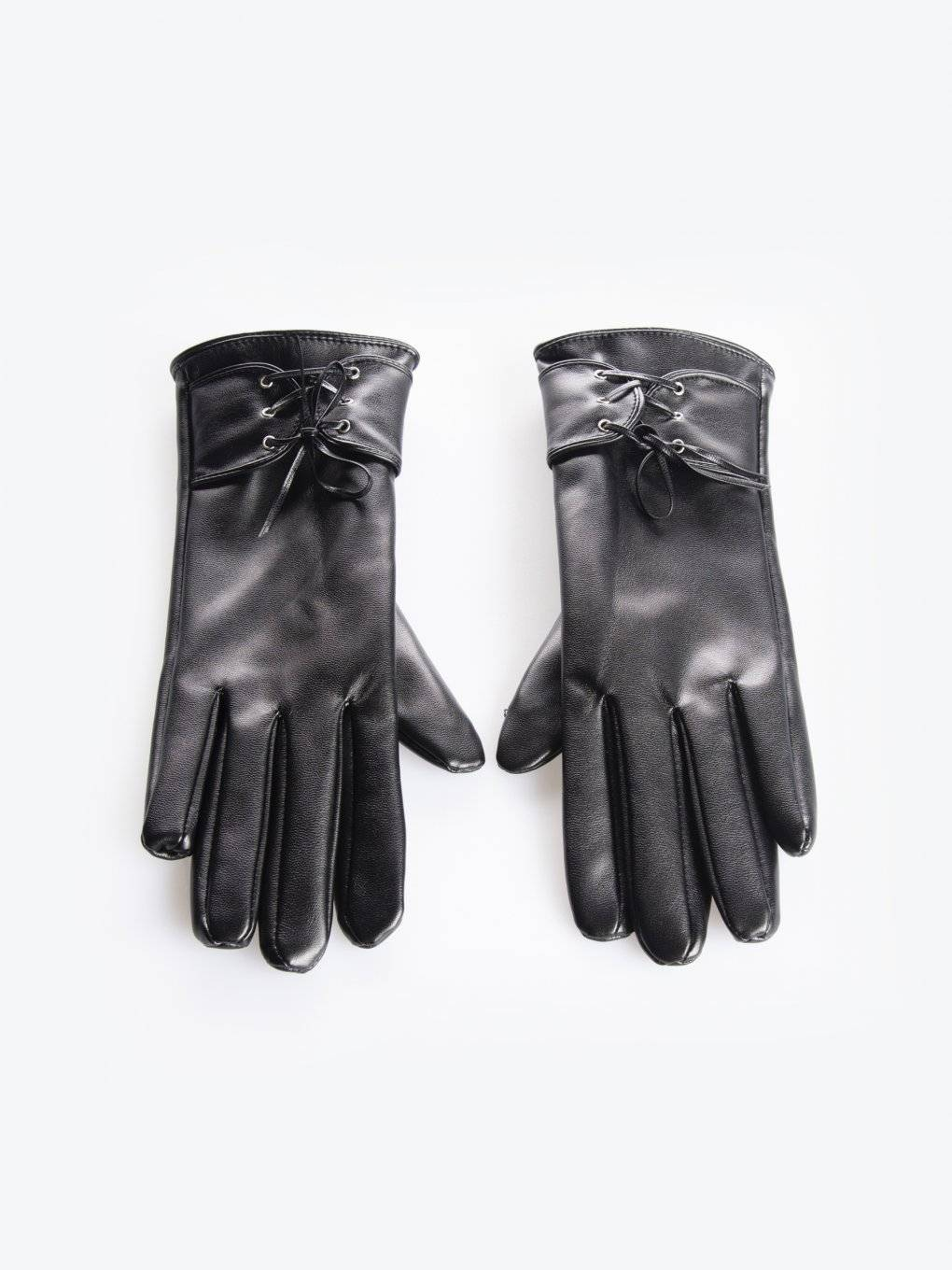 Gloves with lacing