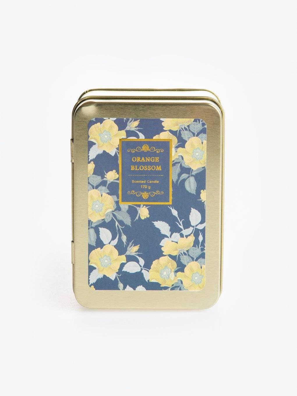 Orange blossom scented tin candle