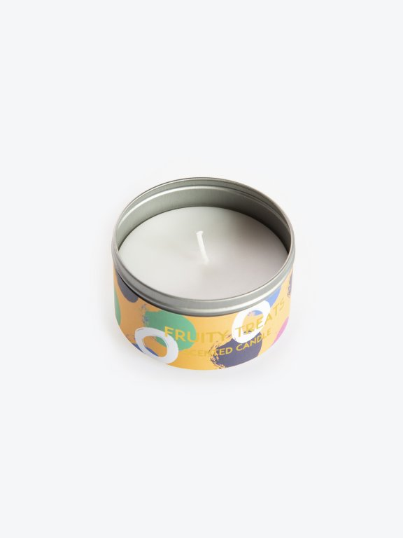 Fruity treats scented candle in a tin