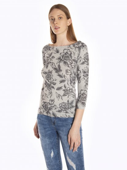 Floral print 3/4 sleeve top