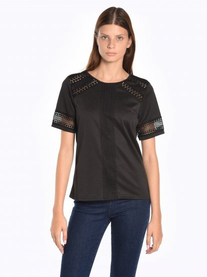 Blouse top with croched detail