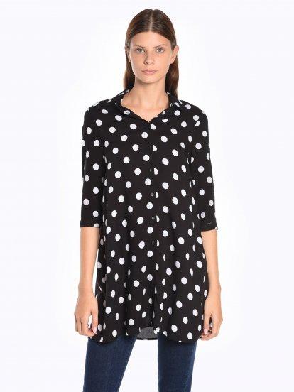 Longline polka dot print shirt