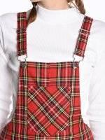 Károvaná sukně s kšandami
