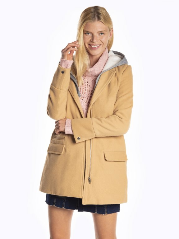 Coat with removable hood