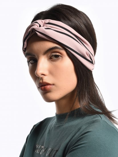 Twist top striped headdress