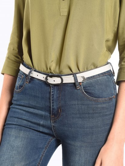 Faux suede narrow belt