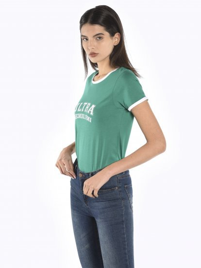 T-shirt with print and contrast trims