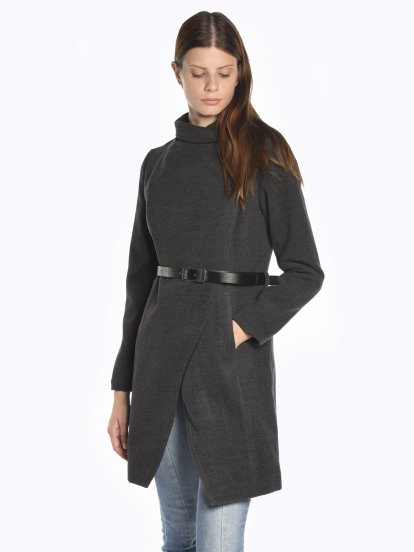 High neck coat with faux leather belt