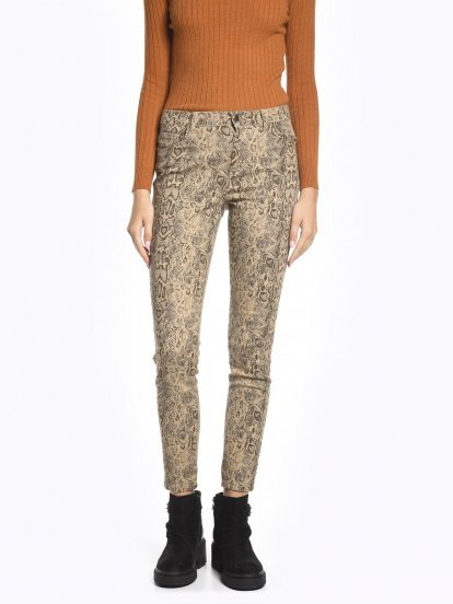 Animal print skinny trousers