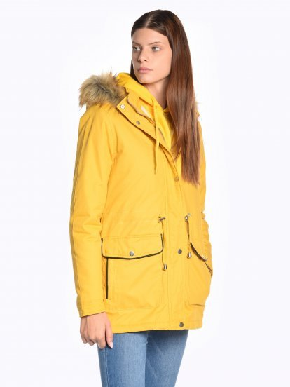 Cotton padded parka with faux fur