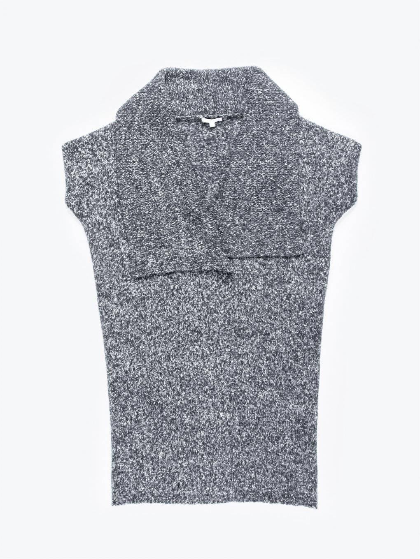 Dlhá pletená vesta z vlnenej zmesi