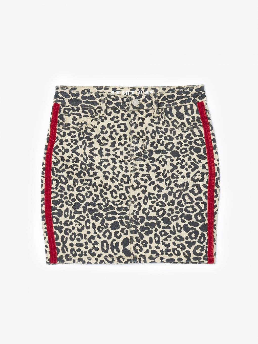Bodycon mini skirt with leopard print and side tape