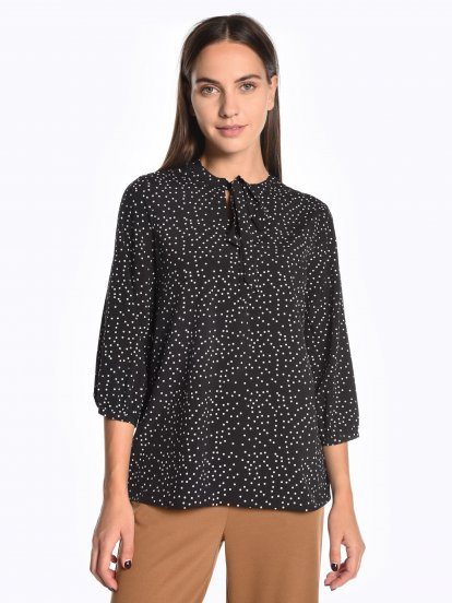 Tie collar printed blouse