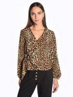 Wrap animal print blouse