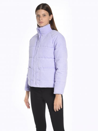 Quilted padded corduroy jacket