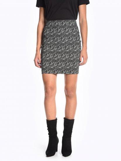 Puzdrová sukňa s potlačou