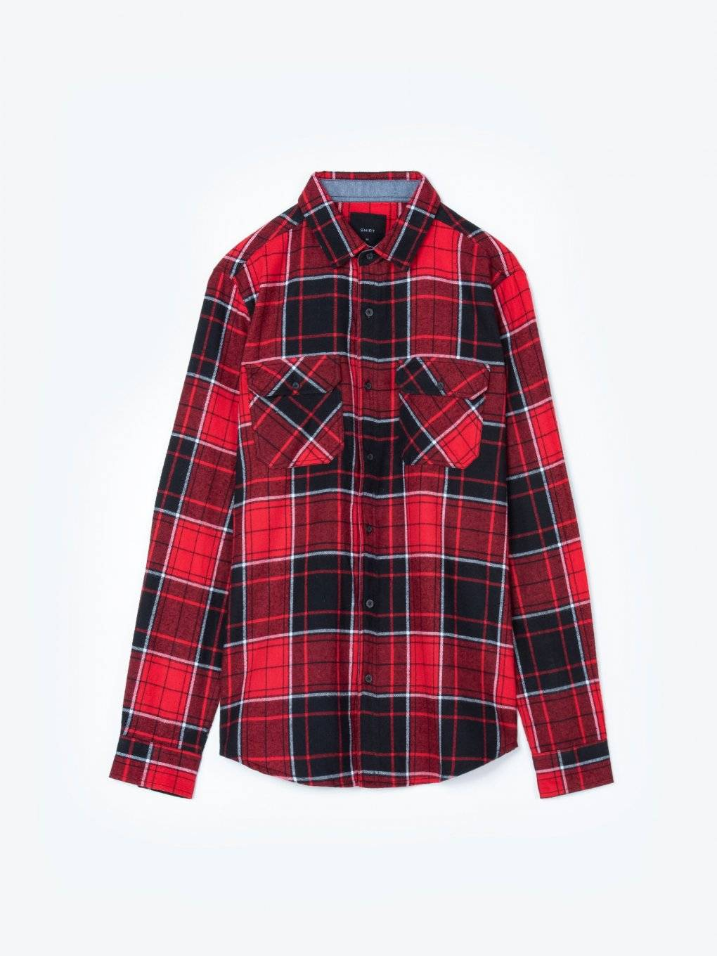 Regular fit plaid cotton shirt
