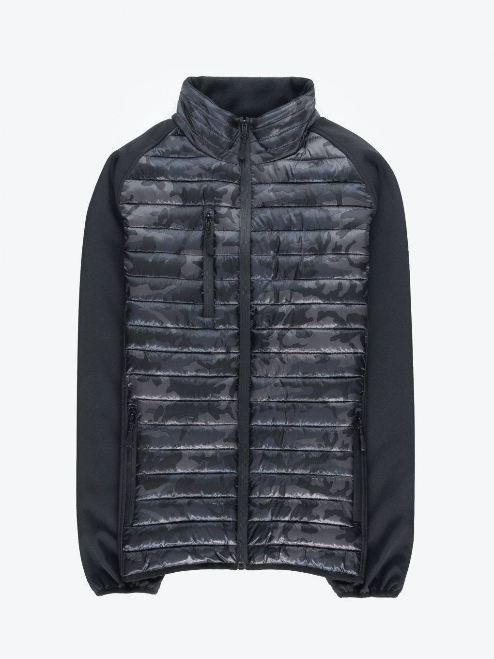 Light padded quilted camo print jacket
