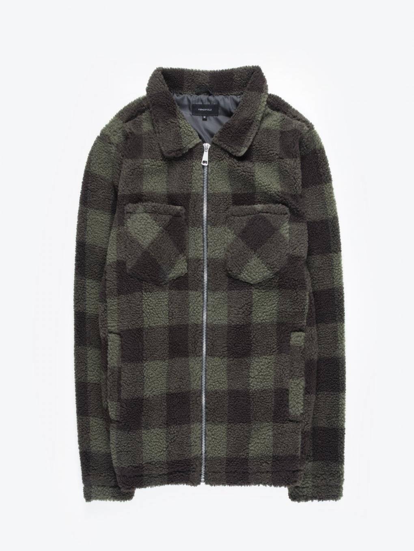 Plaid zip-up sweatshirt