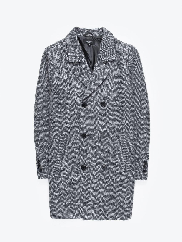 Płaszcz z mieszanki wełny z dwurzędowym zapięciem
