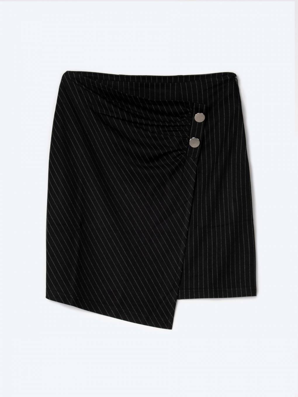 Striped skirt with asymmetric hem