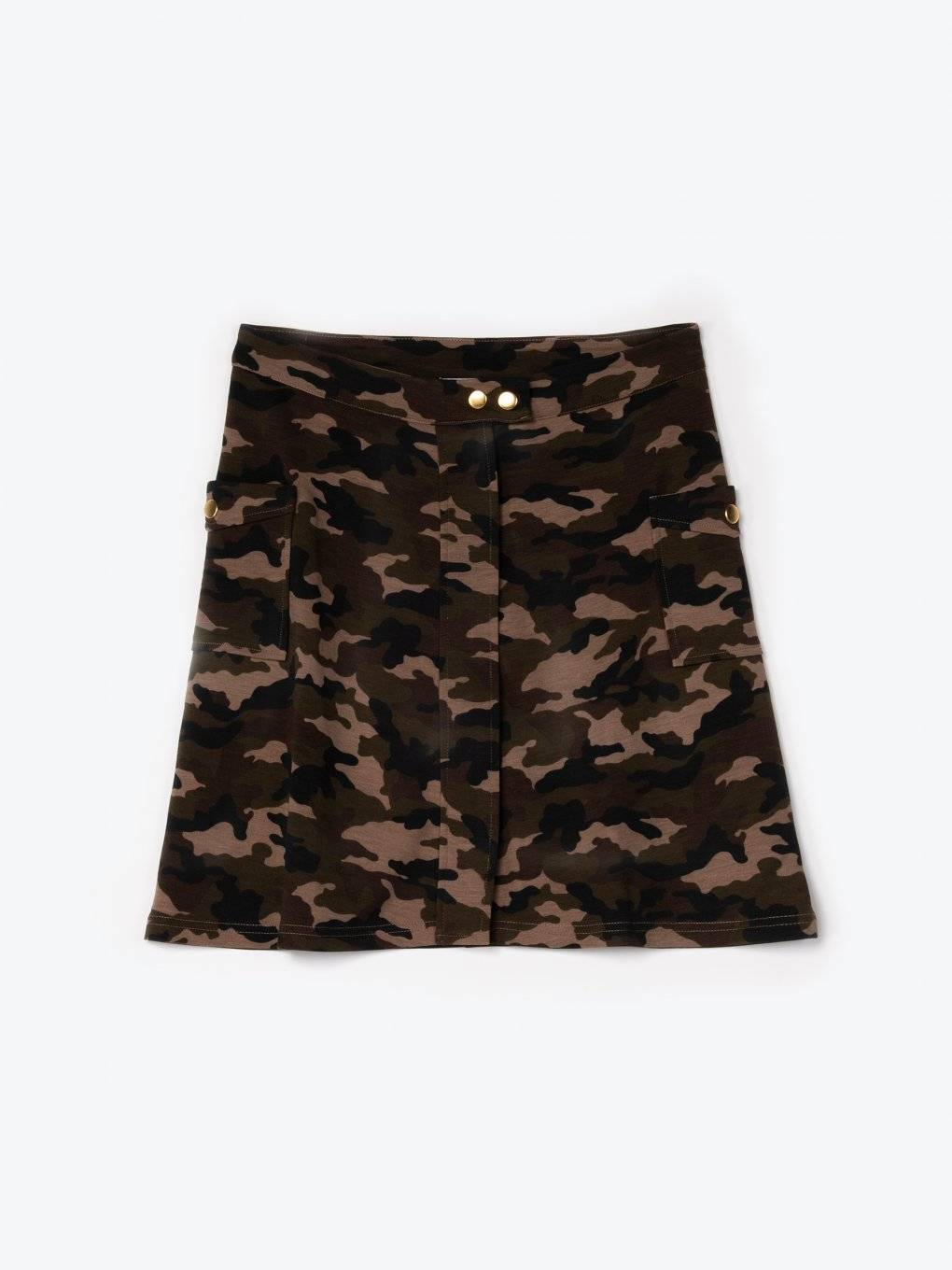 Camo print skirt with side pockets