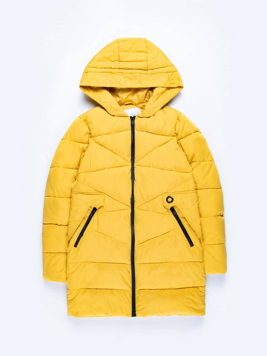 Longline quilted padded jacket with contrast zippers