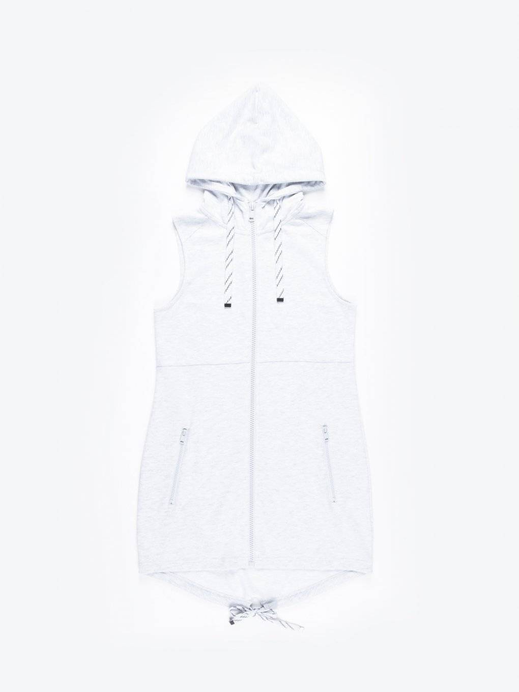 Longline zip-up sleeveless hoodie