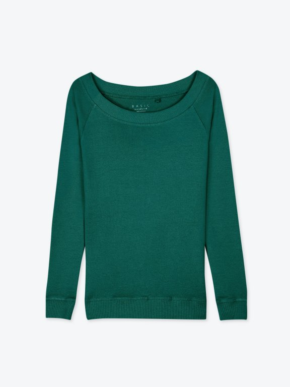Jednoduché tričko s dlouhým rukávem a širokým límcem