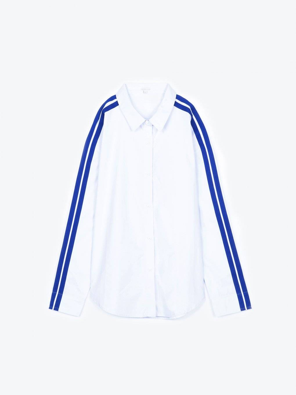 Bavlnená košeľa boyfriend s kontrastným prúžkom