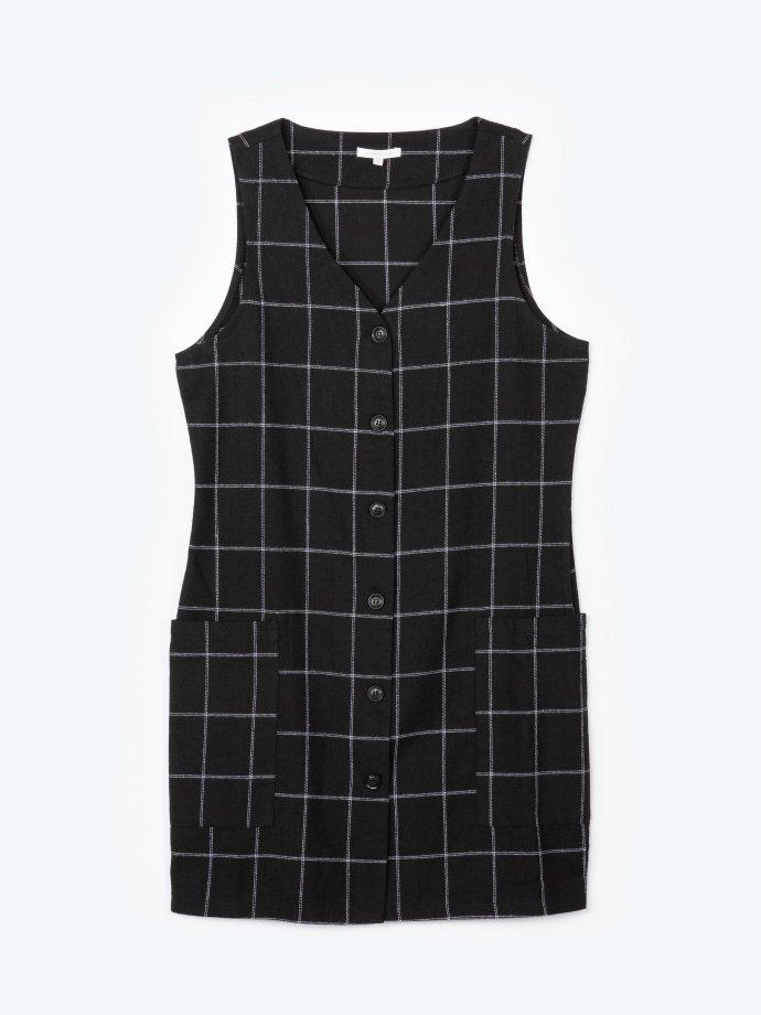 Kárované šaty so zapínaním na gombíky