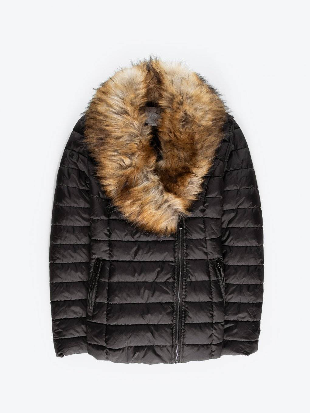 Quilted padded jacket with removable fur collar