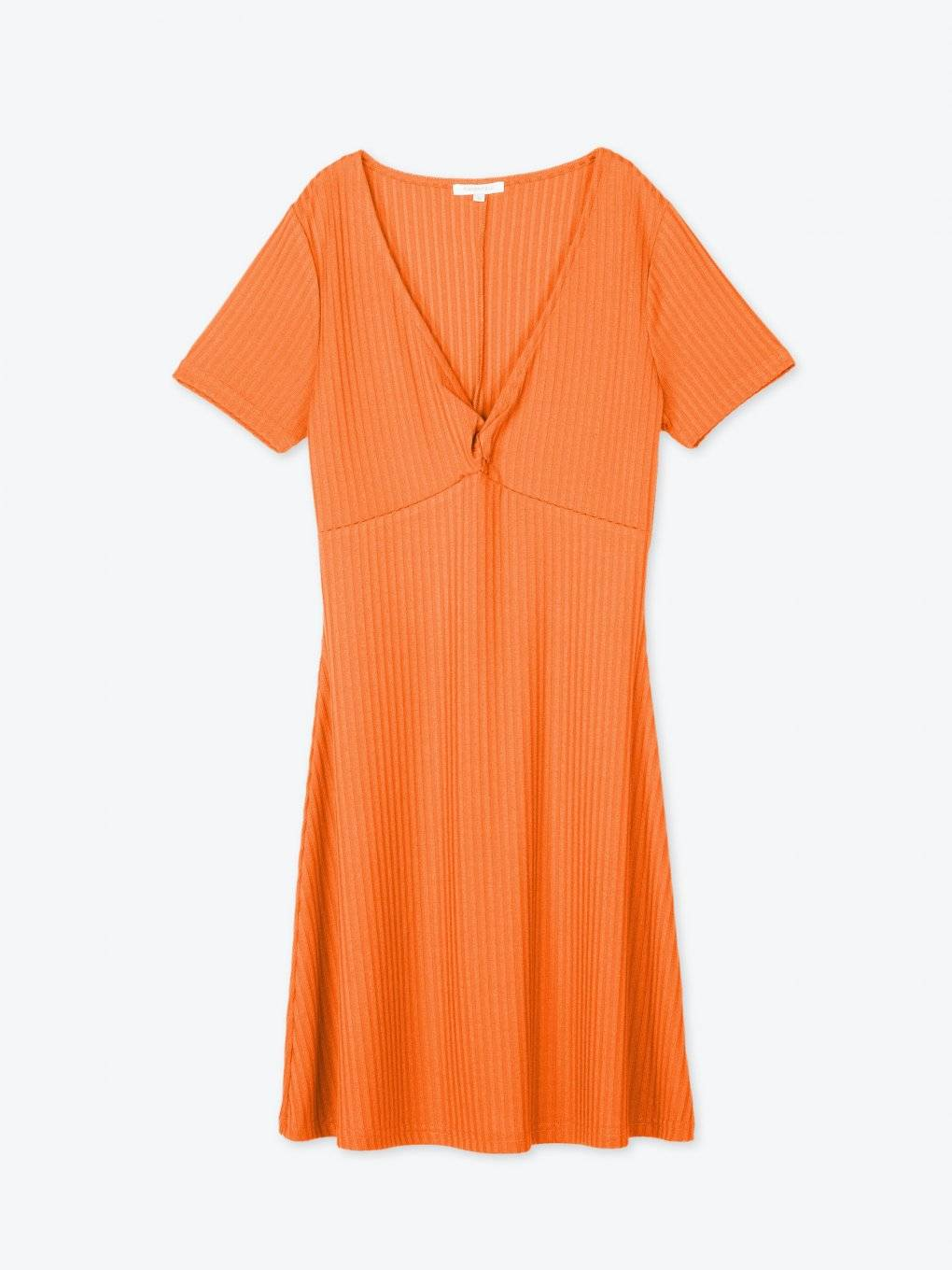 Ribbed v-neck dress