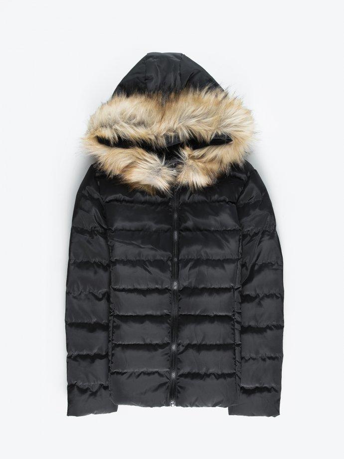 Prošívaná vatovaná bunda s umělou kožešinou