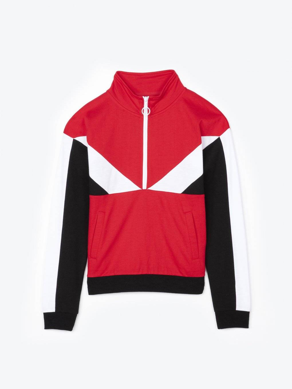 Panelled sweatshirt with zipper