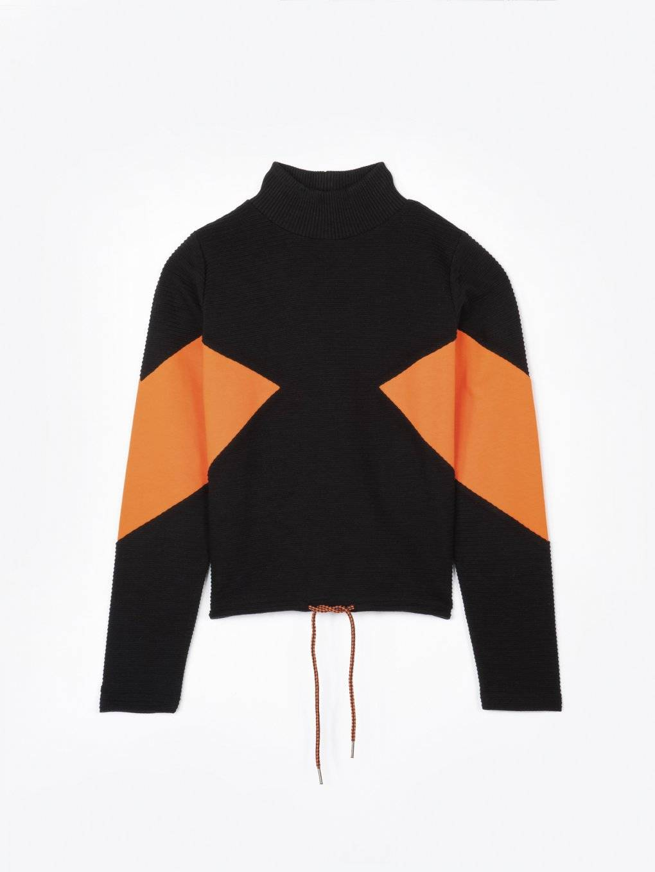 Colour block turtleneck sweatshirt