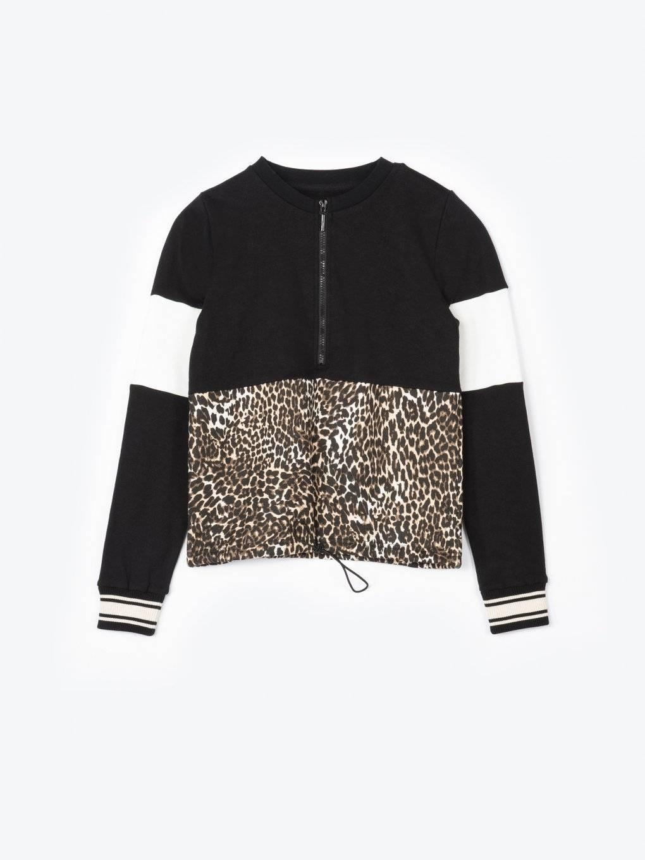 Leopard print colour block sweatshirt