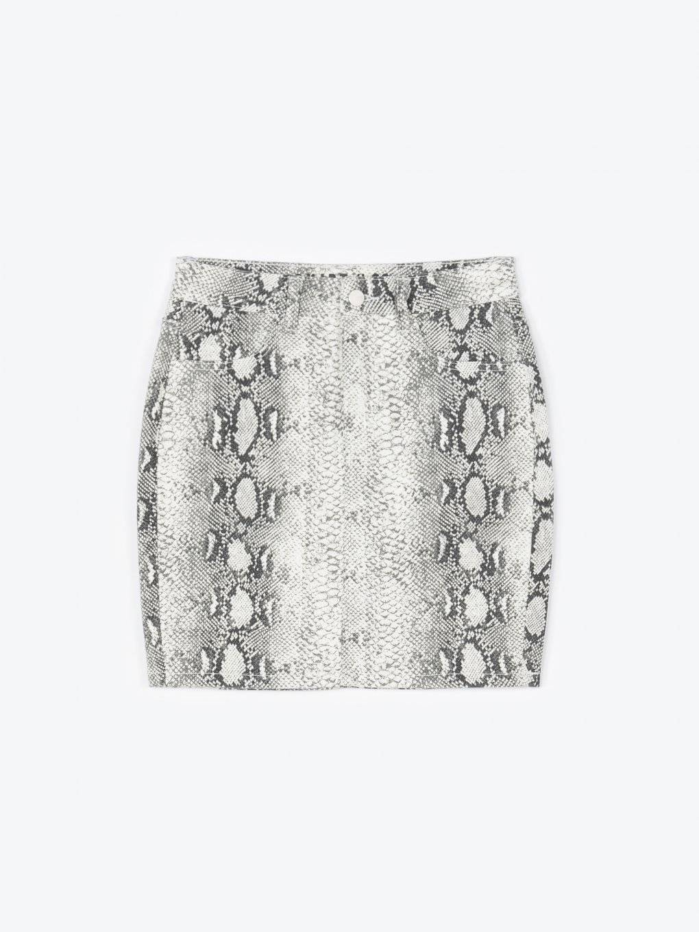 Bodycon mini skirt with snake print