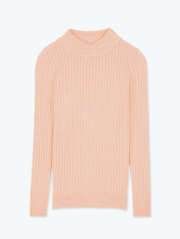High neck rib-knit jumper